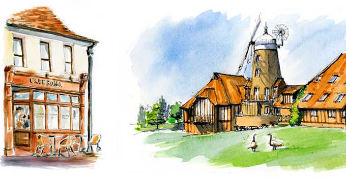 portfolio image of building illustrations. Illustrations of buildings